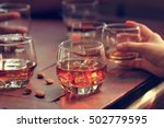 whiskey bourbon in a glass with ... | Shutterstock . vector #502779595