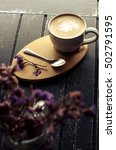 latte hot in cup white on the... | Shutterstock . vector #502791595