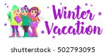 vector design with the girls on ... | Shutterstock .eps vector #502793095
