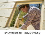 carpenter or diy homeowner... | Shutterstock . vector #502799659