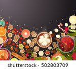 merry christmas  food ... | Shutterstock .eps vector #502803709