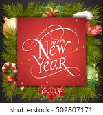 happy new year lettering on red ... | Shutterstock .eps vector #502807171