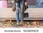 fall fashion outfit details.... | Shutterstock . vector #502809829