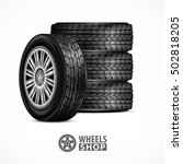 different car black new rubber... | Shutterstock .eps vector #502818205