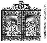 black metal gate with forged... | Shutterstock .eps vector #502820944