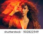 gypsy fortune teller looking... | Shutterstock . vector #502822549