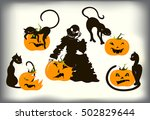 set of cats and pumpkins for...   Shutterstock .eps vector #502829644