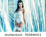sexy brunette beauty posing | Shutterstock . vector #502846411