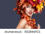 Woman With Leafs On Head In...