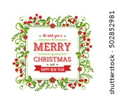 beautiful christmas frame  with ... | Shutterstock .eps vector #502852981