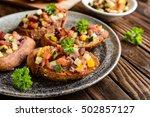 roasted bruschetta with tomato  ... | Shutterstock . vector #502857127