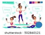 young sporty girl doing selfie... | Shutterstock .eps vector #502860121