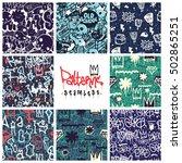 big set of seamless patterns ... | Shutterstock .eps vector #502865251