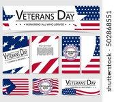 set of veterans day brochure.... | Shutterstock .eps vector #502868551