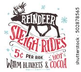 Old Fashioned Reindeer Sleigh...