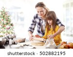 portrait of cute daughter and... | Shutterstock . vector #502882195