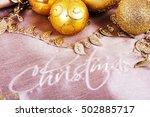 festive gold christmas... | Shutterstock . vector #502885717