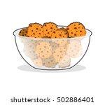 cookies in bowl. biscuit in... | Shutterstock .eps vector #502886401