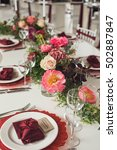 elegant wedding table with... | Shutterstock . vector #502887847
