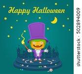 pumpkin halloween master of... | Shutterstock .eps vector #502894009