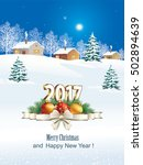 2017 christmas card with balls... | Shutterstock .eps vector #502894639