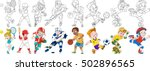 cartoon sportive children set.... | Shutterstock .eps vector #502896565