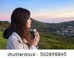 young female tourist enjoying... | Shutterstock . vector #502898845
