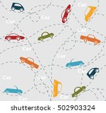 retro seamless car pattern... | Shutterstock .eps vector #502903324