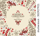 christmas and new year card... | Shutterstock .eps vector #502927921