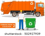 garbage truck collection.... | Shutterstock .eps vector #502927939