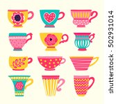 Collection Of Stylized Teacups. ...