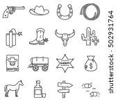Wild West Icons Set. Elements...