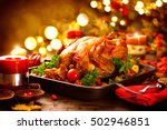 thanksgiving dinner ... | Shutterstock . vector #502946851