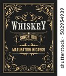 old whiskey label with vintage... | Shutterstock .eps vector #502954939