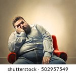 bored chubby man | Shutterstock . vector #502957549