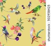 watercolor hand drawn seamless... | Shutterstock . vector #502958425