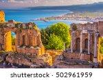 the ruins of taormina theater... | Shutterstock . vector #502961959