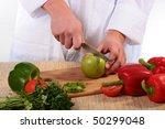 the cook has cut green pepper... | Shutterstock . vector #50299048