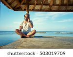 relaxed and cheerful. listening ... | Shutterstock . vector #503019709
