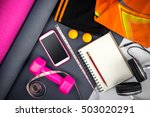 still life of sport equipment ... | Shutterstock . vector #503020291