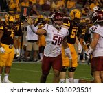 Small photo of HERCULES MATA'AFA defense line for the Washington State Cougars at Sun Devils Stadium in Tempe AZ USA 10-22-27.