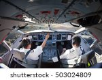 flight deck of modern passenger ... | Shutterstock . vector #503024809