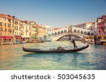 gondola near rialto bridge in... | Shutterstock . vector #503045635