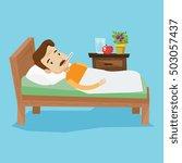 caucasian sick man with fever...   Shutterstock .eps vector #503057437