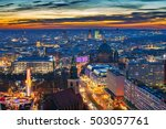 Stock photo aerial view on downtown of berlin at night germany 503057761