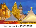 christmas market  french church ... | Shutterstock . vector #503057767