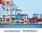 port cargo crane and container... | Shutterstock . vector #503058247