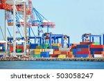port cargo crane and container...   Shutterstock . vector #503058247