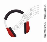 Headphones Note Music Icon...