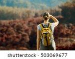 young woman backpacker...   Shutterstock . vector #503069677